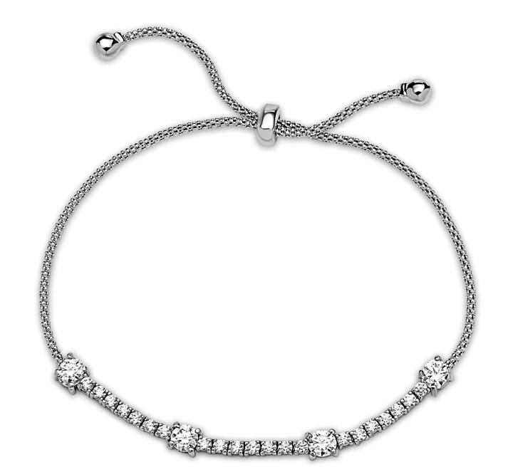 Sterling Silver Wire Pull Bracelet with Round & Square Radiant CZ (BST4665) SALE athenadesigns Default Title