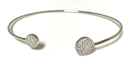 Micropave Round End Open Cuff: Sterling Silver (BN4655)