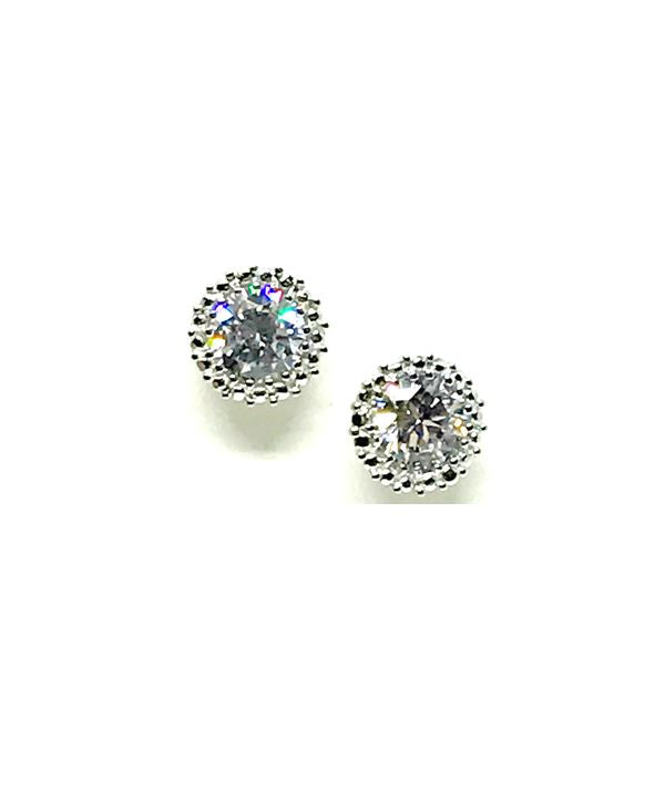 Stud Earring: Round CZ Sterling Silver (EP4656C) Earrings athenadesigns Round CZ Earrings Silver Clear
