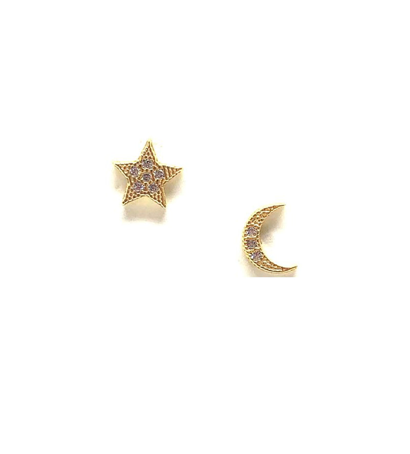 Micro Pave Moon & Star Stud: Gold Vermeil:Also Rose Gold (EGP45MNST) Earrings athenadesigns Gold - EGP45MNST