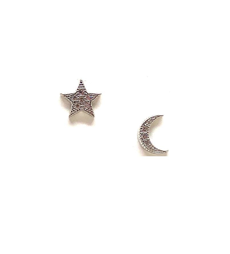 Micro Pave Moon & Star Stud: Sterling Silver (ESP45MNST) Earrings athenadesigns Default Title