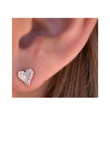 Heart Pave Stud: Rose Gold Vermeil: (ERGP45HRT) Also in Gold Vermeil Earrings athenadesigns