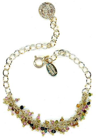 Fancy Cluster Tourmaline Bracelet with Gold Fill Chain (BGCL747T)