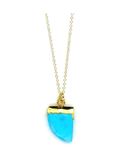 Tusk Stone Necklace Gold Fill: Turquoise (NCGP749TQ) SALE athenadesigns