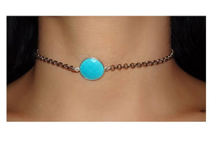 Turquoise with Rolo Chain Choker: Gold Plated (NGCH4087TQ) SALE athenadesigns