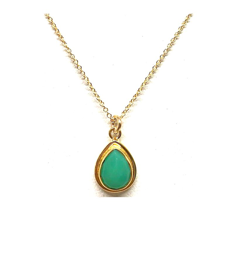 Teardrop Bezel Stone Necklace: Chalcedony: Gold Vermeil (NCGP470CH) Also in Sterling Silver SALE athenadesigns Gold - NCGP470CH