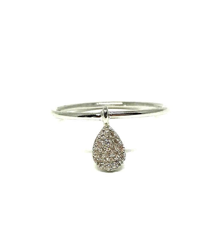 Micropave Ring: Fixed Teardrop - Silver, sizes 6-8 (RS45DRP/6-8) SALE athenadesigns Size 7 - RS45DRP/7