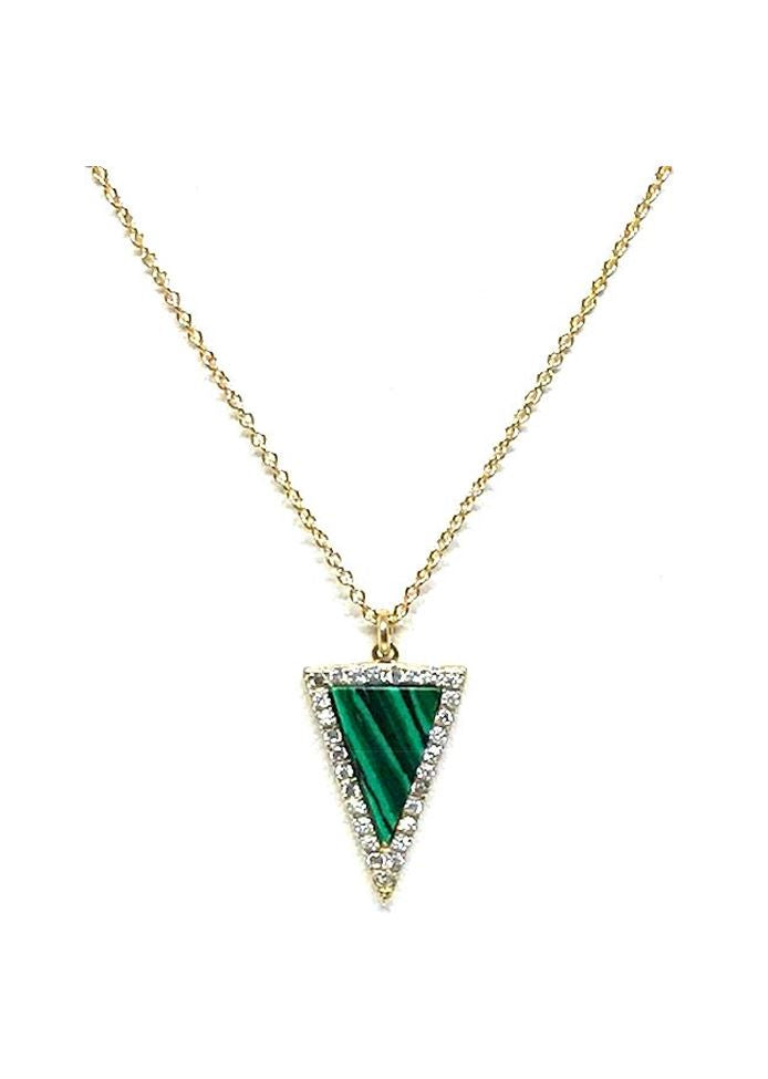 Stone Triangle with Crystal Accents Necklace: Malachite: Gold Vermeil - Also in Sterling Silver (NCGP4795ML) SALE athenadesigns Gold - NCGP4795ML