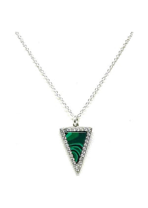 Stone Triangle with Crystal Accents Necklace: Malachite: Gold Vermeil - Also in Sterling Silver (NCGP4795ML) SALE athenadesigns Silver - NCP4795ML