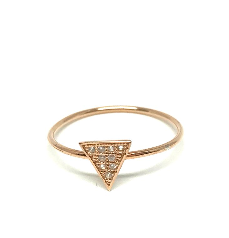 Micropave Ring: Triangle - Rose Gold, sizes 6-8 (RRG495C/6-8) SALE athenadesigns Size 6 - RRG495C/6