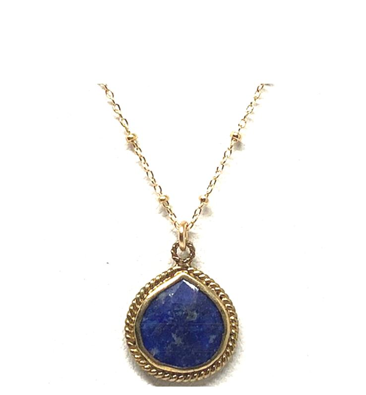 Wire Wrap Bezel Stone Necklace: Lapis: 14kt gold fill (NCGP704LP) Necklaces athenadesigns Default Title