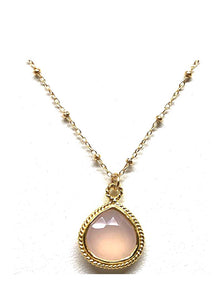 Wire Wrap Bezel Stone Necklace: Pink Chalcedony: 14kt gold fill chain (NCGP704PK) SALE athenadesigns Default Title