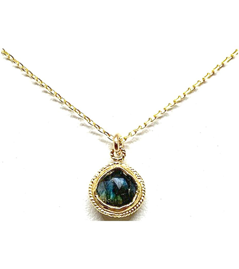 10mm Wire Wrap Bezel Stone Necklace: Labradorite: (NGCP74LD) Necklaces athenadesigns Default Title