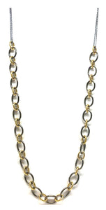 "Black and Gold: Rectangular Chain Necklace- Oxidized Sterling (NXG484/26) Also in 17"" length SALE athenadesigns 26""- NXG4884/26"