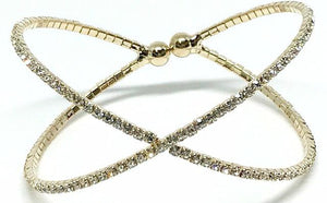 Gold 'X' Crystal Cuff Bracelet (BGX/405) Fashion Bracelet athenadesigns