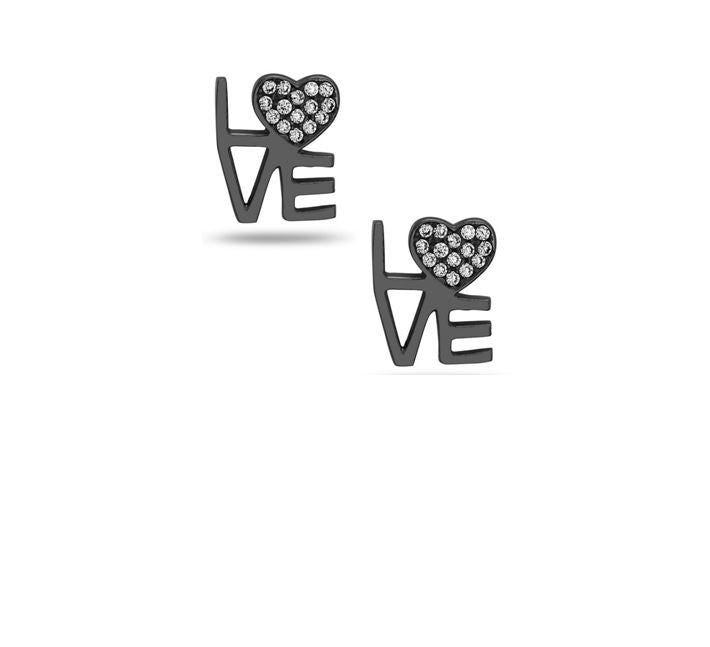 Love Crystal Heart Stud: Oxidized Silver (EXP5LUV) SALE athenadesigns Default Title