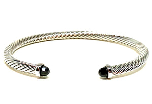 Thin Cable Bracelet with Crystal Endcap: Silver: Black Crystal (BS4070X): Also Gold Fashion Bracelet athenadesigns Silver: BS4070X