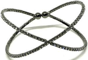 "Crystal Cuff Gunmetal ""x"" (BXX/405) Fashion Bracelet athenadesigns"