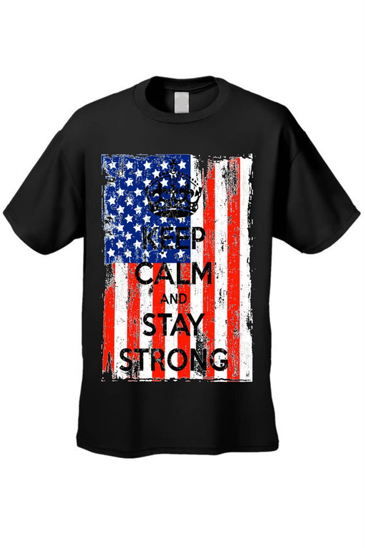 USA Flag T Shirt Men's Keep Calm & Stay Strong - Zenogram Shop LLC