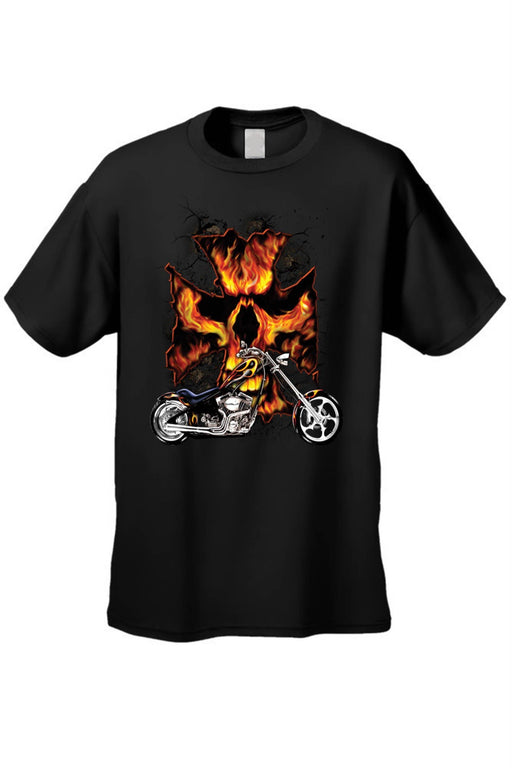 Men's T Shirt Motorcycle Flame Skull Cross - Zenogram Shop LLC