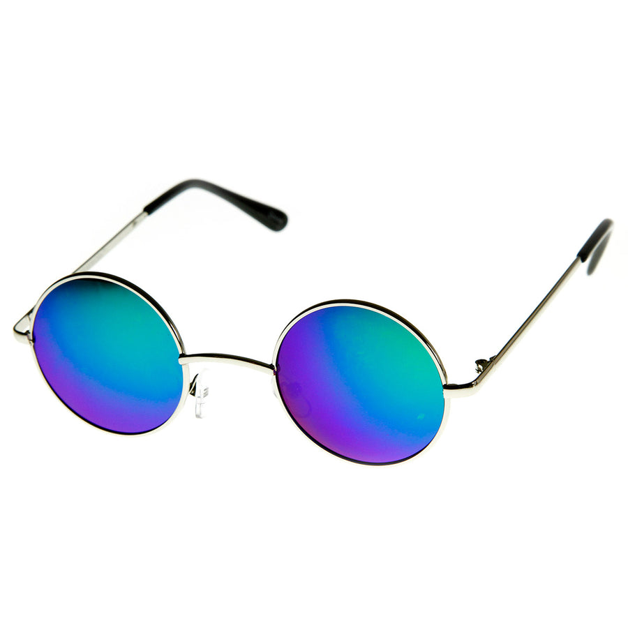 Lennon Style Small Round Color Mirrored Lens Circle Sunglasses