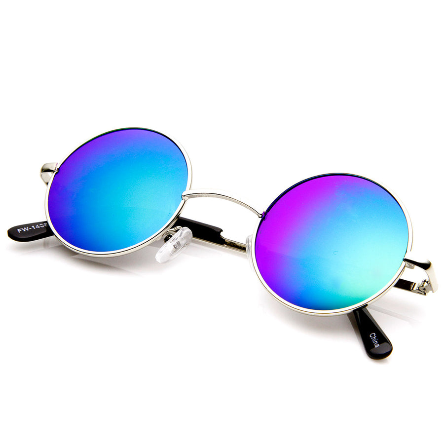 321a0b0f93 Lennon Style Small Round Color Mirrored Lens Circle Sunglasses