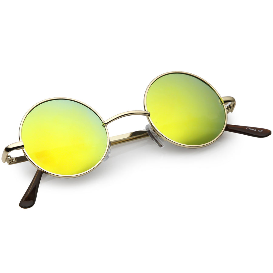 354545dce4 Lennon Style Small Round Color Mirrored Lens Circle Sunglasses