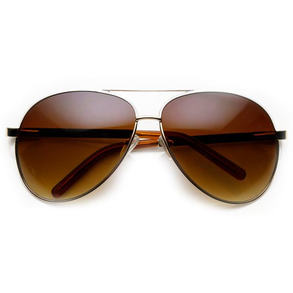 Designer Inspired Large Metal Aviator Sunglasses - sunglass.la