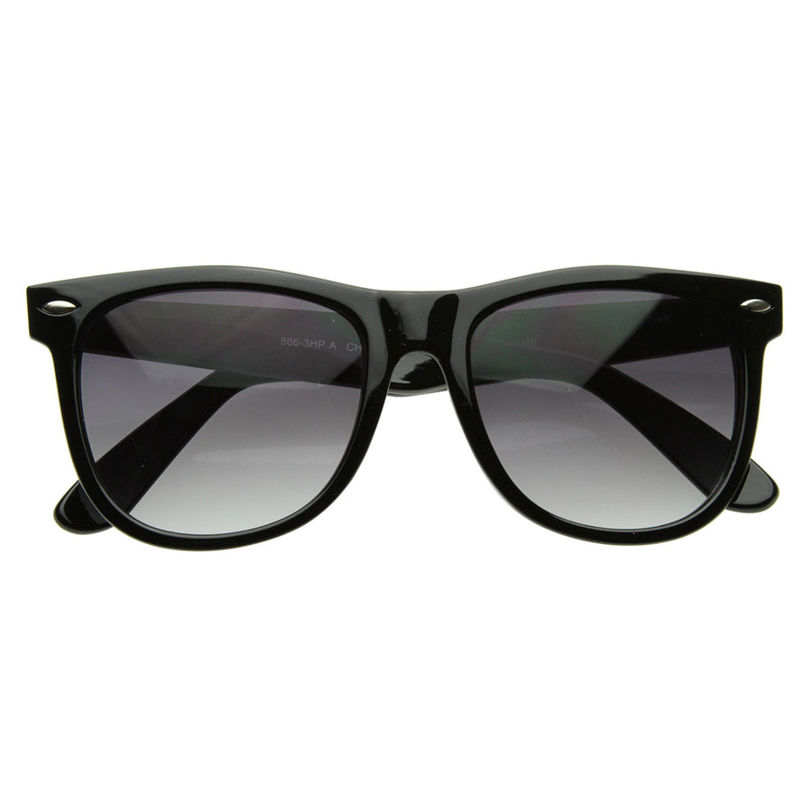 fd5f1adfdf Classic Retro 1980s Large Horn Rimmed Style Sunglasses w  Metal Hinges