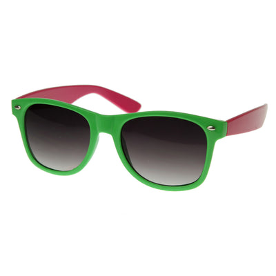 Super Two-Tone Hyper Neon Multi Color Party Horn Rimmed Shades Sunglasses
