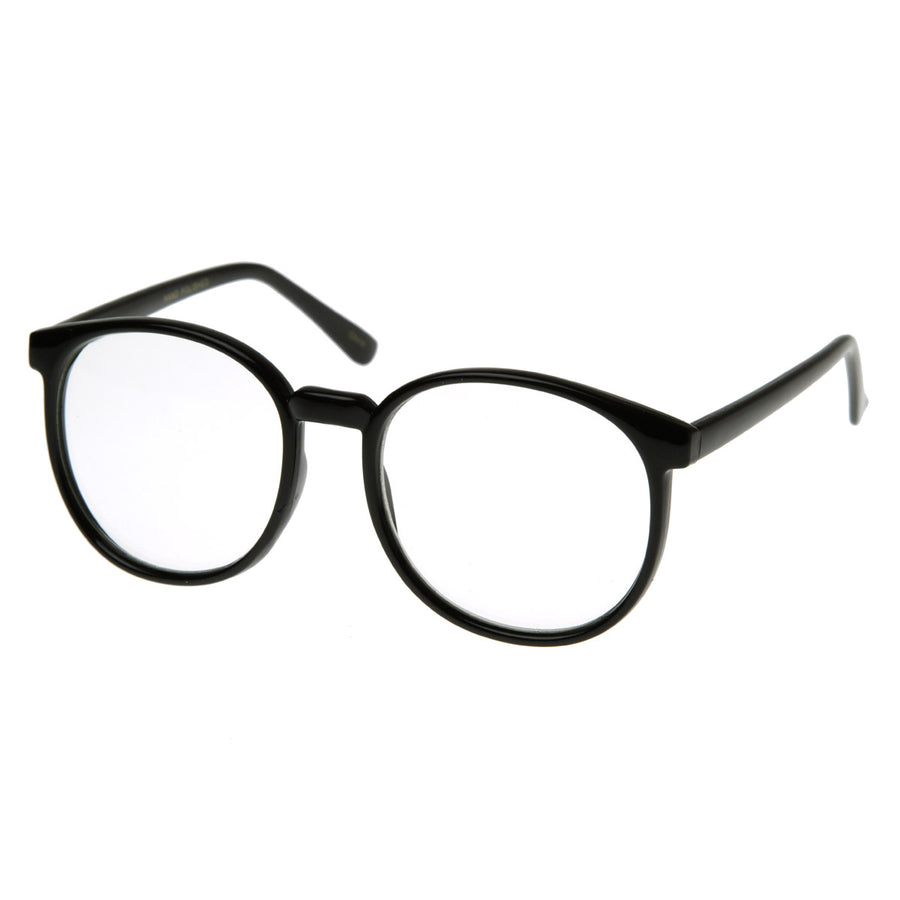 05a617861a18c Vintage Inspired Round Circle Spectacles Clear Lens Horn Rimmed P-3 Glasses