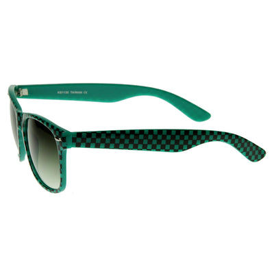 New Retro 80s Color Checkered Print Party Color Horn Rimmed Sunglasses