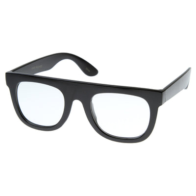 Super Nerd Geek Flat Top Clear Lens Horn Rimmed Eyeglasses Glasses
