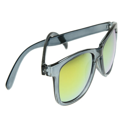 Froggy Designer Inspired Key Hole Horn Rimmed Sunglasses w/ Color Mirror Lens