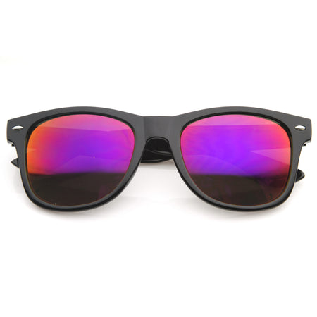 Flat Matte Reflective Revo Color Lens Large Horn Rimmed Style Sunglasses