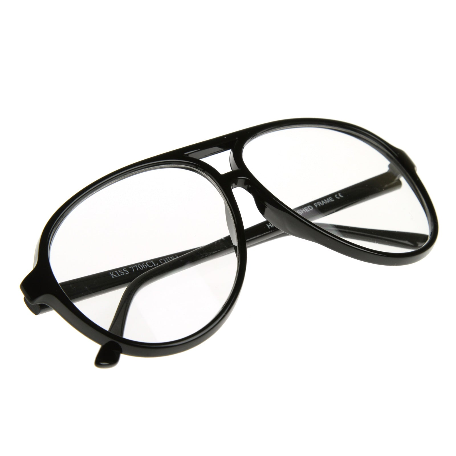 741ed2a81ee0 80s Retro Classic Vintage Large Bold Tear Drop Clear Lens Aviator Glasses  8062