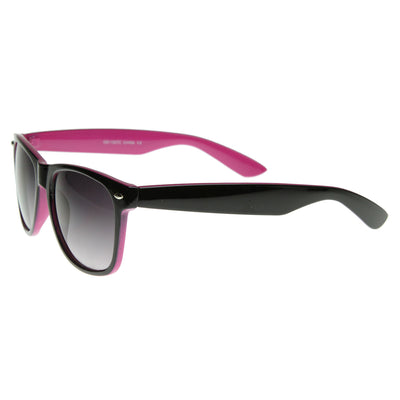 Two Tone Multi Color Neon Retro Fashion Classic Horn Rimmed Style Sunglasses