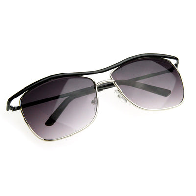 Modern Thin Square Wire Frame Aviator Sunglasses