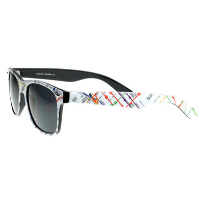 New Rare Map Print Subway Pattern Multi Color Classic Horn Rimmed Sunglasses 8231