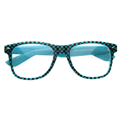 Neon Glow in the Dark Clubbing Raver Party Fun Checkered Horn Rimmed Glasses