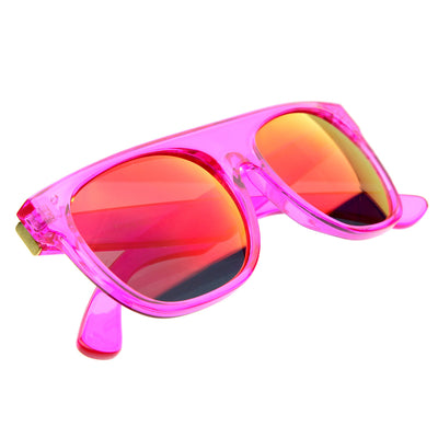 Super Transparent Crystal Neon Color Revo Lens FlatTop Horn Rimmed Sunglasses