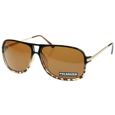 Classic Polarized Vintage Inspired Flat Top Plastic Aviator Sunglasses