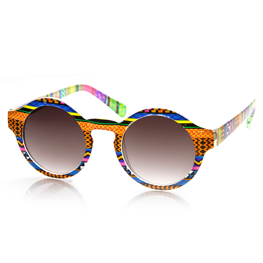 Vintage Inspired Round Circle Native Print Horned Rim Sunglasses