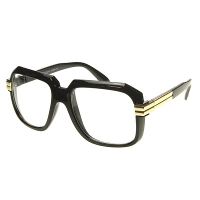 Large Color Coated Square Oversized Hip Hop Clear Lens Glasses