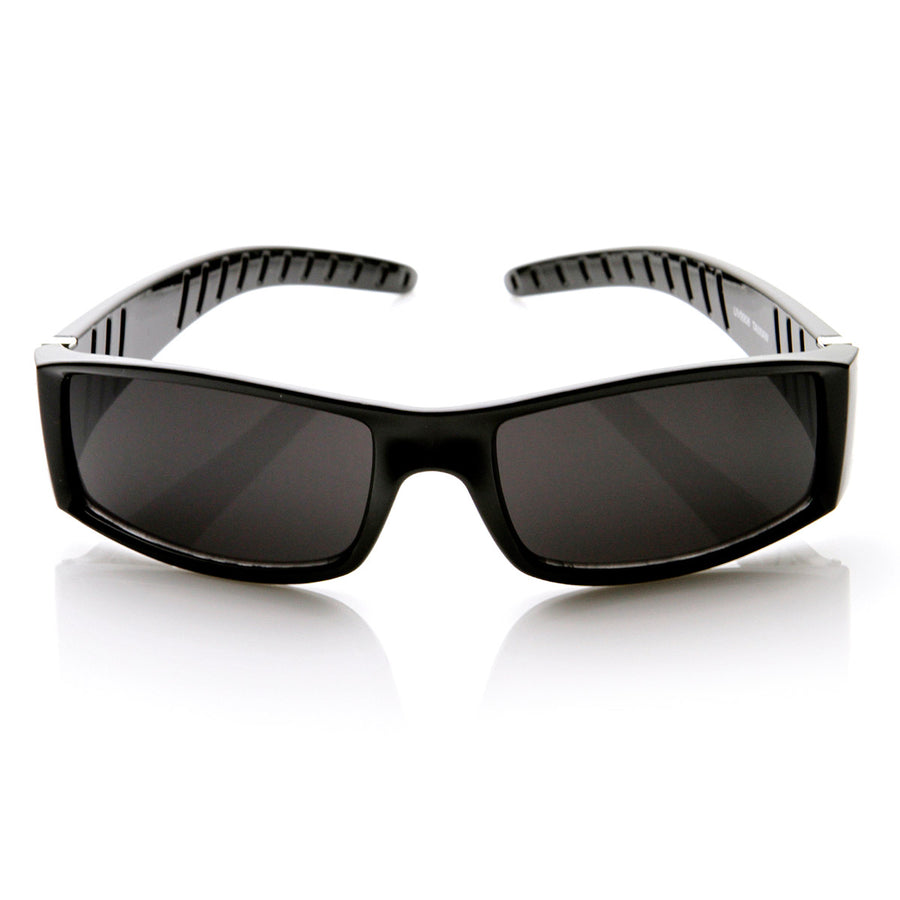b045d4e1933 High Quality Rectangular Super Dark Lens Sports Wrap Sunglasses