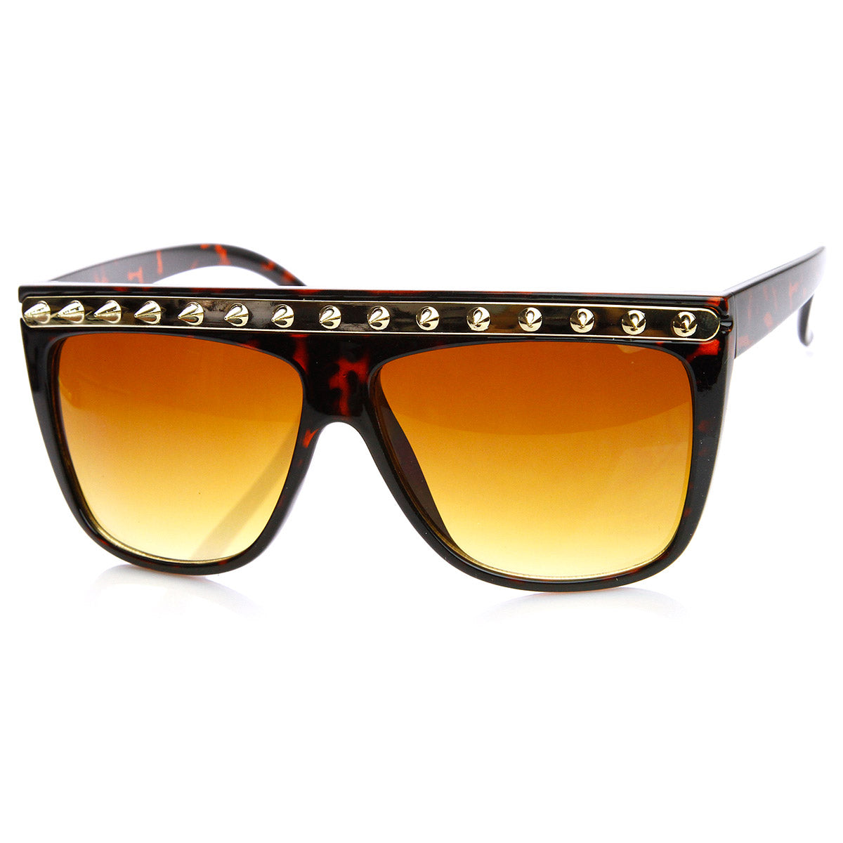 Spiked Fashion Metal Accent Flat Top Horn Rimmed Sunglasses Black-Gunmetal