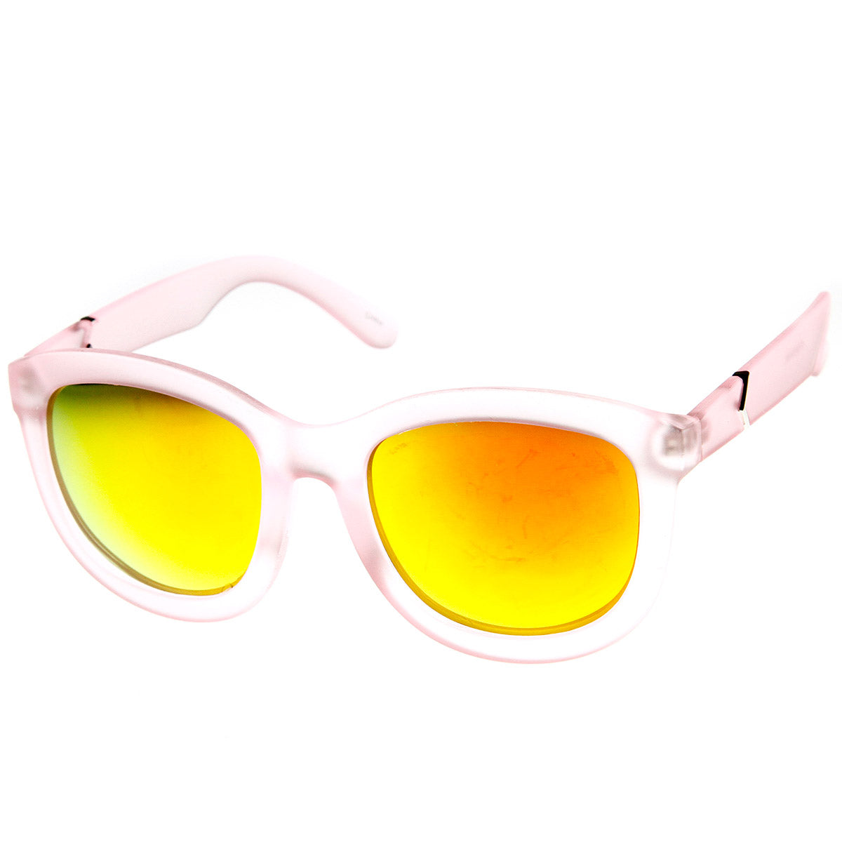 Smoke Sun Frosted Frame Color Mirror Lens Bold Oversized Horn Rimmed Sunglasses