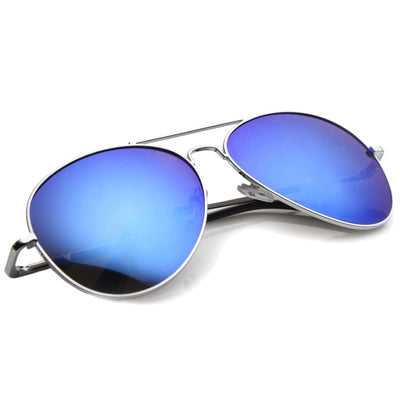 Color Tint Mirror Metal Aviator Sunglasses