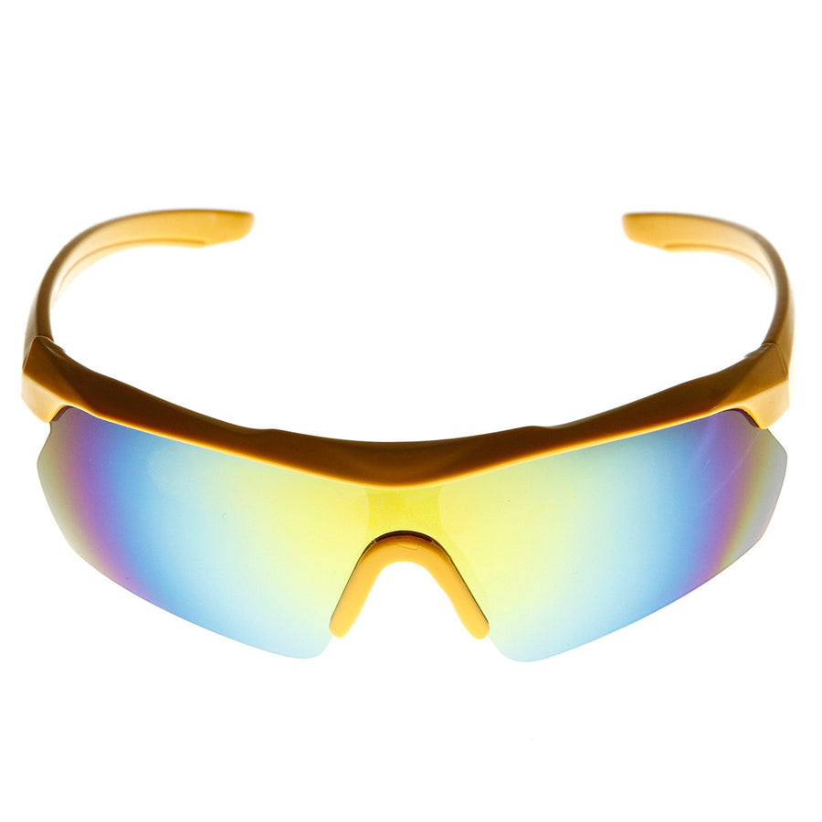Action Sports Half Frame Semi-Rimless Mirror Lens Sunglasses