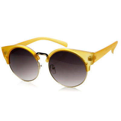 Chic Half Frame Semi-Rimless Round Cat Eye Sunglasses